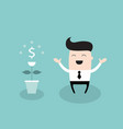happy businessman with dollar plant growing money vector image