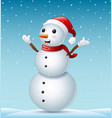 happy christmas snowman and snowfall vector image