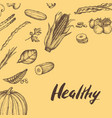 healthy vegan food hand drawn background vector image vector image