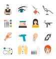 Icons set with bodyart tattoo piercing and special vector image vector image