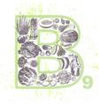 ink hand drawn fruits and veggies vitamin b9 vector image