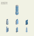 isometric building set of urban residential vector image vector image