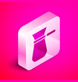 isometric coffee turk icon isolated on pink vector image vector image