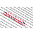 isometric high-speed train on tracks in the vector image vector image