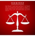 Justice scales silhouette flat icon on red vector image