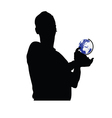 man holding a globe vector image vector image