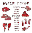 meat set with lettering steak house or butcher vector image vector image