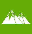 mountains with snow icon green vector image