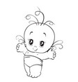 newborn little baby smiling with small arms vector image vector image