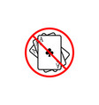 no gambling line icon prohibition sign forbidden vector image