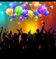 party crowd with balloons and confetti vector image vector image