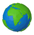 polygonal icon africa on globe with green vector image vector image