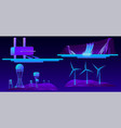 renewable energy modern sources cartoon set vector image vector image