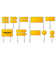 road yellow traffic signs set blank board vector image vector image