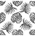 seamless pattern with black and white monstera vector image vector image