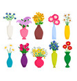 set of colored vases with blooming flowers for vector image