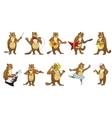 set of cute beavers music vector image vector image