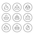 set round line icons fire vector image vector image