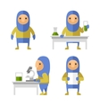 set scientist characters in lab flat style vector image