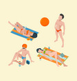 summer people isometric male and female vacation vector image vector image