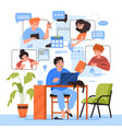 teamwork online home office team communication vector image