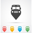 Trendy Bus marker pin icon for map vector image vector image