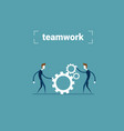 two businessman holding cog wheel teamwork vector image vector image