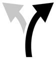 two way arrow symbol arrow icon curved arrows vector image