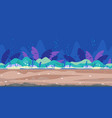 underwater bottom game background flat landscape vector image