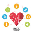 white poster with heartbeat rhythm with colorful vector image vector image