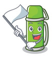 with flag thermos character cartoon style vector image vector image