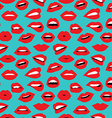 Woman red lipstick retro style seamless pattern vector image
