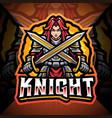 women knight esport mascot logo design vector image vector image