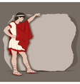 young greek standing at a piece stone block going vector image