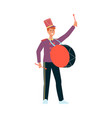 young man in parade costume with drum in flat vector image vector image