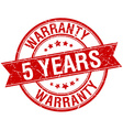 5 years warranty grunge retro red isolated ribbon vector image vector image