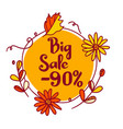 a big autumn discount of 90 percent in a circle of vector image