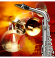abstract red grunge background with saxophone and vector image vector image