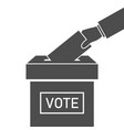 ballot box and hand with vote icon election vector image