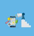 businessman pour money on smartphone vector image vector image