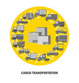 cargo transportation round concept with different vector image