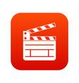 clapperboard icon digital red vector image vector image