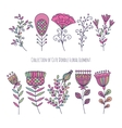 Collection of cute doodle floral elements vector image