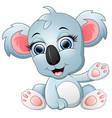 cute koala cartoon waving hand vector image vector image