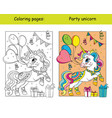 cute party unicorn with balloons coloring vector image