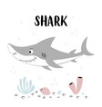 cute shark with lettering isolated on white vector image vector image