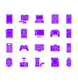 device simple purple gradient icons set vector image vector image