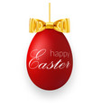 easter egg 3d icon red hanging egg white text vector image vector image