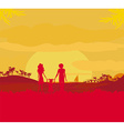 Family silhouette over tropical background vector image