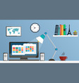flat design desktop workspace vector image vector image